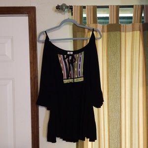 Ivy Jane cold-shoulder top, black crepe